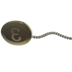 Etched Oval Greek Letter Epsilon Tie Tack